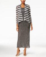 R & M Richards Petite Metallic Crinkled Dress and Chevron Jacket