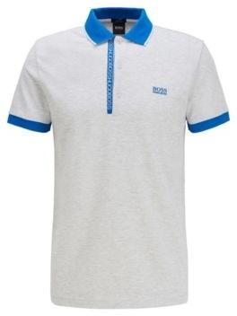 HUGO BOSS Slim Fit Polo Shirt In Pima Cotton Oxford Pique - Light Grey
