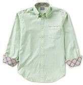 Thomas Dean Geo Print Long-Sleeve Woven Shirt