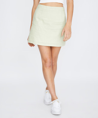Subtitled Syble Linen Mini Skirt Sage Green