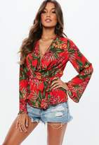 Missguided Red Tropical Print Drape Plunge Blouse