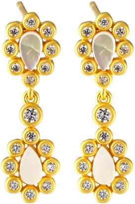 Freida Rothman Double Mother-of-Pearl Cluster Drop Earrings