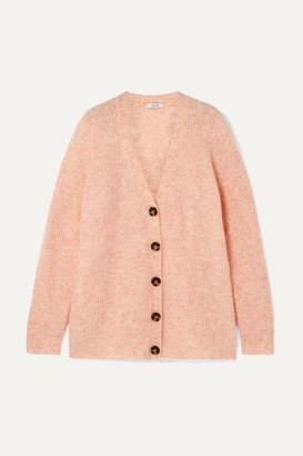 Ganni Oversized Ribbed-knit Cardigan - Peach