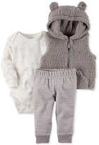 Carter's 3-Pc. Hooded Fleece Vest, Bodysuit & Pants Set, Baby Boys (0-24 months)