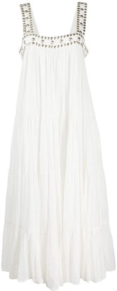 Mes Demoiselles Stud-Trimmed Tiered Midi Dress