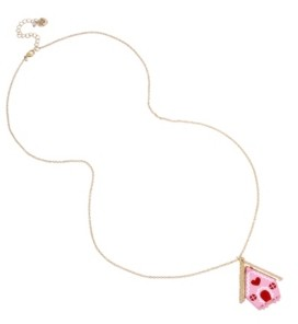 "Betsey Johnson Gingerbread House Pendant Long Necklace, 32"" + 3"" extender"