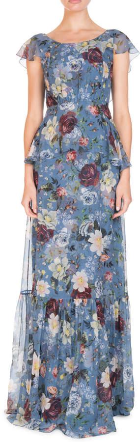 Erdem Julianna Scoop-Neck Cap-Sleeve Floral-Print Silk Chiffon Dress
