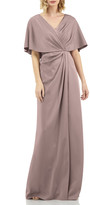 Kay Unger New York Luna Stretch Faille Portrait-Neck Cape-Sleeve Gathered Gown