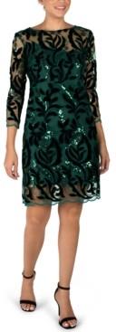 Donna Ricco Velvet Embroidered Mesh Sheath Dress