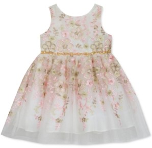 Rare Editions Baby Girls Floral-Embroidered Fit & Flare Dress