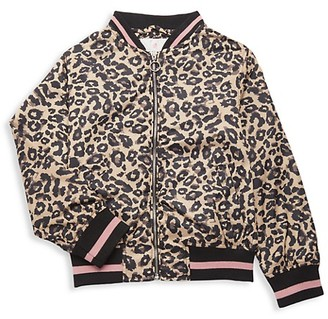 Urban Republic Little Girl's Leopard-Print Sateen Bomber