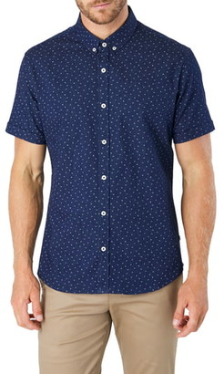 7 Diamonds Night Shift Slim Fit Floral Short Sleeve Button-Down Denim Shirt