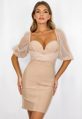 Missguided Stone Mesh Ruched Milkmaid Bandage Mini Dress
