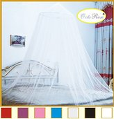 OctoRose Extra large size Round Hoop Bed Canopy Netting Mosquito Net Fit Crib, Twin, Full, Queen, King, Guaranteed large enough for double bed, king , or Cal king bed, super small hole with quality netting material. (White)