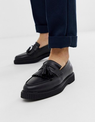 Asos Design DESIGN loafers in black leather with creeper sole