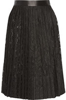 Givenchy Satin-trimmed Pleated Skirt In Black Lace - FR38
