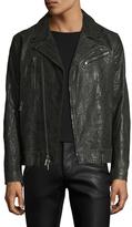 John Varvatos Leather Embossed Motorcycle Jacket