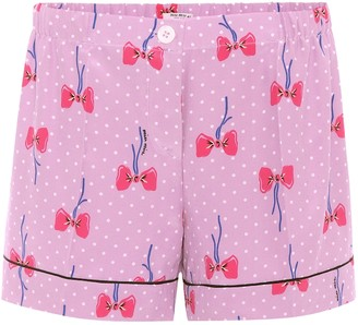 Miu Miu Printed silk shorts