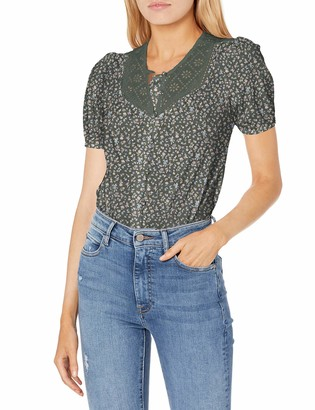 Lucky Brand Women's Short Sleeve Eyelet Yoke Button Down Knit Blouse