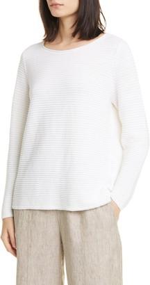 Eileen Fisher Horizontal Ribbed Organic Linen & Cotton Sweater