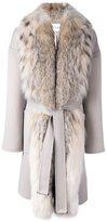 Guy Laroche fox fur collar belted coat