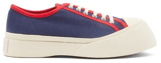 Marni Exaggerated Cotton-canvas Trainers - Womens - Navy Multi