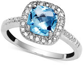 Victoria Townsend Blue Topaz (1-3/8 ct. t.w) and Diamond (1/10 ct. t.w.) Ring in Sterling Silver