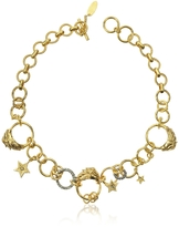 Roberto Cavalli Circus Golden Metal Necklace w/Crystals