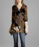 Lily Brown Trees V-Neck Tunic - Plus Too