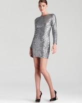 Aqua Sequin Dress - Long Sleeve V Back