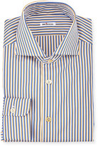 Kiton Striped Long-Sleeve Sport Shirt, Navy