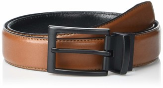 Steve Madden Men's Two-Color Reversible Split Leather Belt with Stitched Edge Detail