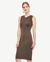 Ann Taylor Petite V-Neck Ponte Seamed Sheath Dress