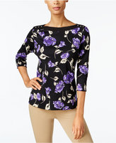 Karen Scott Floral-Print Boat-Neck Top, Created for Macy's