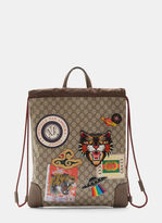 Gucci Courier Gg Supreme Drawstring Backpack In Brown