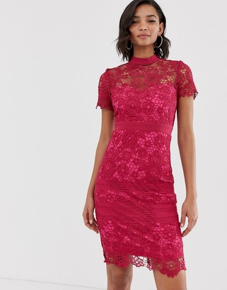 Paper Dolls premium crochet lace short sleeve pencil dress-Pink
