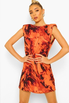 boohoo Marble Print Shoulder Pad T-Shirt Dress
