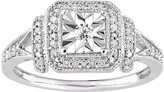 Sterling Silver 1/5 Carat T.W. Diamond Square Halo Ring