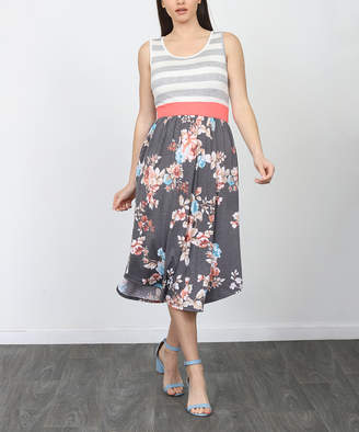 Egs By Eloges egs by eloges Women's Casual Dresses GREY - Gray Charcoal & Pink Floral & Stripe Sleeveless Midi Dress - Women & Plus
