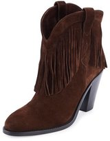 Saint Laurent Babies Fringe Suede 70mm Bootie, Coffy