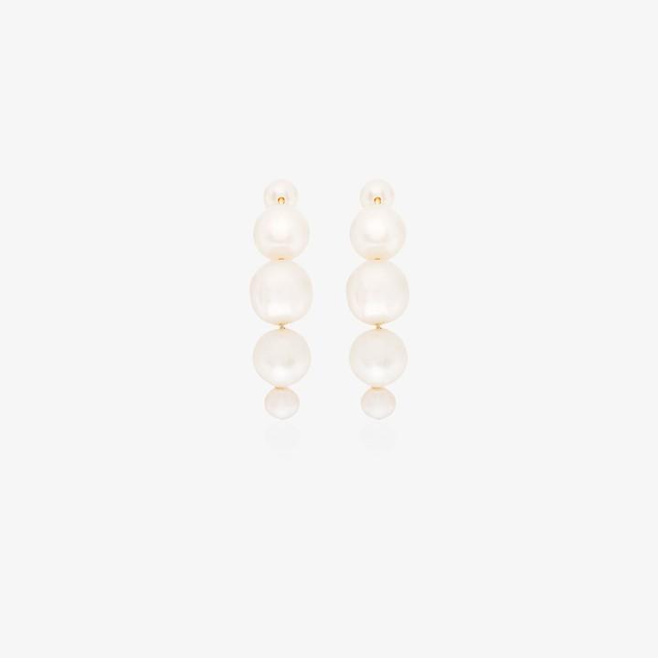 Saskia Diez 14K yellow gold pearl huggie earrings