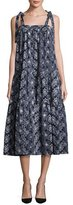 Co Floral Tie-Strap Tiered Midi Dress, Navy