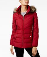 MICHAEL Michael Kors Size Faux-Fur-Trim Chevron-Quilted Down Coat