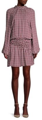 Ramy Brook Dustin Houndstooth Drop-Waist Dress