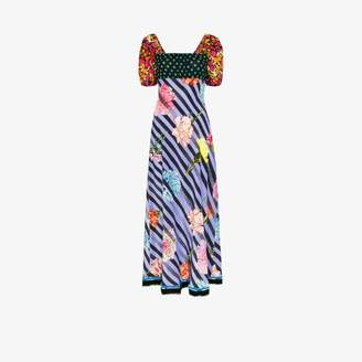 Rixo Womens Blue X Christian Lacroix Anastasia Contrast Print Silk Maxi Dress
