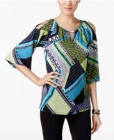 NY Collection Petite Printed Cold-Shoulder Keyhole Top