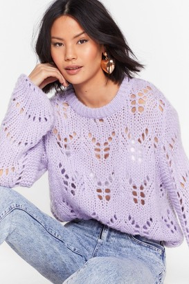 Nasty Gal Womens Open to It Fluffy Knit Jumper - Purple - S