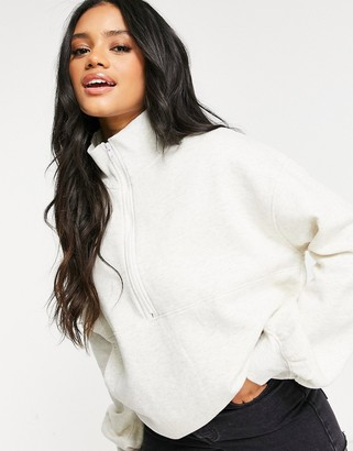 Public Desire oversized sweatshirt with half zip co-ord in off white