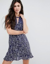 Greylin Jenna Silk Flounce Hem Dress