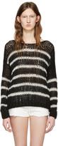Saint Laurent Black & White Striped Sweater
